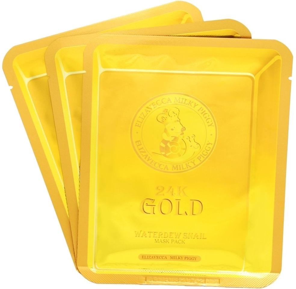 Elizavecca k Gold Water Dew Snail MaskУникальная маска Elizavecca 24k Gold Water Dew Snail Mask с содержанием настоящего 24-каратного золота и, уже снискавшим популярность и любовь, фильтром слизи улитки в своем составе, позволяют добиться ошеломительного омолаживающего действия путем внедрения компонентов глубоко внутрь клеток.<br><br>Входящее в состав 24-каратное золото обладает мощным антивозрастным эффектом. Повышает упругость эпидермиса, запускает восстановительные процессы в клетках, является транспортным средством для других активных веществ. Насыщает клетки кислородом, позволяя порам дышать, что, в свою очередь, делает цвет лица более однородным. Обладает тонизирующим действием.<br><br>Фильтр улитки способствует разглаживанию морщин, осветлению пигментации, борется с их повторным возникновением. Смягчает протекание воспалительных процессов, подсушивает прыщи, сужает поры, разглаживает тургор кожи, убирает рубцы и шрамы после акне. Оказывает антибактериальное действие<br><br>Маска обладает накопительным увлажняющим эффектом, питает кожу. Делает лицо свежее и моложе.<br><br>&amp;nbsp;<br><br>Объём: 25 мл<br><br>&amp;nbsp;<br><br>Способ применения:<br><br>Расправить маску и аккуратно наложить ее на очищенную от загрязнений кожу лица на 30 минут. Убрать маску, остатки средства похлопывающими движениями распределить по лицу и оставить до полного впитывания<br>