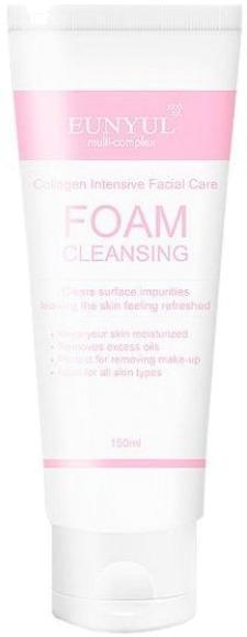 Очищающая пенка Eunyul Collagen Foam CleanserТщательно очистить кожу от макияжа и скопившихся загрязнений, при этом не травмировав нежные участки поможет легкая питательная пенка Collagen Foam Cleanser от корейского бренда Eunyul. Воздушная текстура мягко окутывает и равномерно очищает поры от загрязнений, защищает от негативного воздействия жесткой воды и дарит коже мягкость. Щадящая формула средства не нарушает физиологический уровень влажности и pH кожного покрова, позволяет сохранить кожу чистой и свежей в течение всего дня. Натуральная растительная формула средства сужает расширенные поры, борется с размножением патогенной микрофлоры и помогает контролировать работу сальных желез. Кожа в результате обретает сияющий и свежий вид.<br>Экстракт сочного персика обладает антибактериальным, ранозаживляющим и регенерирующим действием. Усиливает эластичность и упругость кожи.<br>Экстракт тимьяна бережно снимает воспаление, успокаивает и устраняет отечность тканей. Поддерживает оптимальный уровень влажности клеток.Объём: 150 мл.Способ применения:Выдавите необходимое количество средства и взбейте пену. Очистите кожу лица от загрязнений.<br>