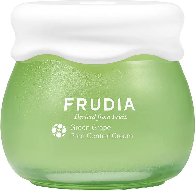 Frudia Green Grape Pore Control CreamВоспаления и прыщики, расширенные поры и жирный блеск спустя несколько часов после умывания &amp;ndash; одни из последствий чрезмерной выработки себума, или кожного сала. Договориться с собственной кожей вам поможет крем Green Grape Pore Control Cream корейского бренда Frudia. Вместо обычной воды средство на 81% состоит из экстракта зелёного винограда. Основное действующее вещество &amp;ndash; это танин. Он мягко и эффективно удаляет загрязнения из пор, &amp;laquo;растворяет&amp;raquo; лишний себум, дезинфицирует кожу и приостанавливает деятельность патогенных бактерий. В состав крема входят также витамин Е и комплекс растительных масел из семян винограда, абрикоса, грейпфрута, граната, манго и томата. Они увлажняют, смягчают и успокаивают кожу, которая, как следствие, начинает вырабатывать меньше себума.<br><br>Лёгкий крем-сорбет Frudia Green Grape Pore Control Cream благодаря натуральному составу подходит для всех типов кожи, в том числе для чувствительной. Однако эффект будет особенно заметен на комбинированной и жирной коже.<br><br>&amp;nbsp;<br><br>Объём: 55 гр.<br><br>&amp;nbsp;<br><br>Способ применения:<br><br>Массирующими движениями нанесите крем на очищенное лицо. Остатки вбейте в кожу лёгкими похлопываниями пальцев. Из-за большого количества фруктовых экстрактов средство может изменить цвет под воздействием солнечных лучей. Свойства продукта при этом не меняются.<br>