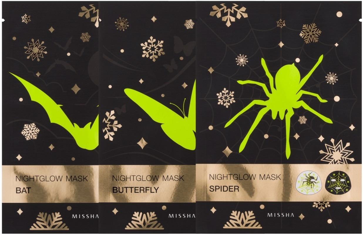 Missha Nightglow MaskЭта маска на тканевой основе впечатляет своим дизайном. Косметологи Missha создали интересное и действительно привлекающее к себе внимание решение. Nightglow Mask – это подтягивающая маска с флуоресцентным рисунком. Это ничем не вредит коже. Напротив, такая маска очень полезна.<br>Тканевая основа пропитана специально подобранным составом, способным вернуть коже здоровое сияние красоты и молодости. В основе его – натуральные цветочные экстракты растений, произрастающих на Востоке. Они дарят коже витамины из собственного состава, питают ее и хорошо увлажняют. К тому же растительные компоненты омолаживают, ведь они запускают процессы клеточной репарации. Результат – кожа здоровая, красивая, подтянутая.<br>Средство выпускается в трех вариантах – паук, летучая мышь и бабочка. Выбирайте того представителя фауны, который вам по душе больше, и дарите коже себе красоту.Объём: 25 млСпособ применения:Маску достаньте из упаковки, разверните аккуратно и положите на лицо. По прошествии 20 минут основу снимите, а остатки пропитывающего ее состава распределите по коже.<br>