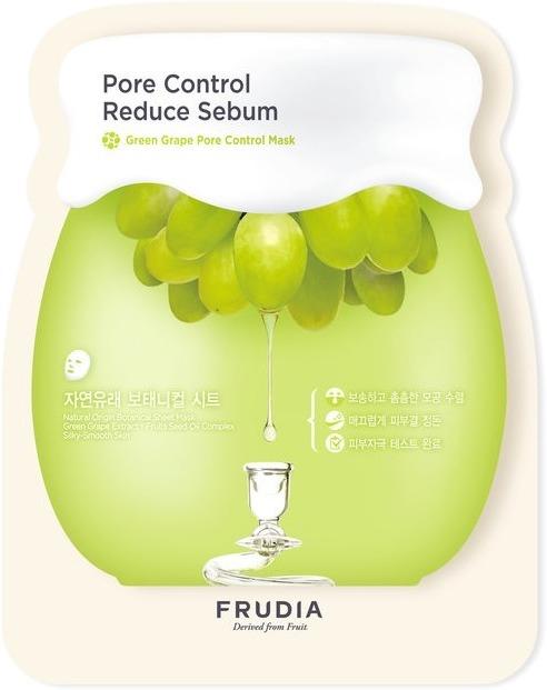 Frudia Green Grape Pore Control MaskПовышенное выделение кожного сала (себума) может стать одной из причин появления воспалений и прыщиков. Чтобы помочь коже отрегулировать этот процесс, используйте маску Green Grape Pore Control Mask кореской марки Frudia. Она на 60% состоит из экстракта зелёного винограда, содержащего танин. Танин эффективно очищает и сужает поры, дезинфицирует и увлажняет кожу. Витамин Е и растительные масла из косточек винограда, абрикоса, манго и томата смягчают и успокаивают эпидермис.<br><br>Тканевая основа маски Frudia Green Grape Pore Control Mask изготовлена из растительных волокон, без использования отбеливателей, поэтому она не раздражает кожу. Натуральный цвет полотна близок к естественному тону лица.<br><br>Себорегулирующая маска Frudia Green Grape Pore Control Mask представлена также в упаковке из 5 штук.<br><br>&amp;nbsp;<br><br>Объём: 27 мл./ 5*27 мл.<br><br>&amp;nbsp;<br><br>Способ применения:<br><br>Вытащите маску из упаковки и, не снимая защитную плёнку, наложите тканевой стороной на чистое лицо. Затем расправьте маску и удалите с неё защитную плёнку. Через 10-25 минут снимите маску и лёгкими похлопываниями пальцев вбейте остатки средства в кожу.<br>
