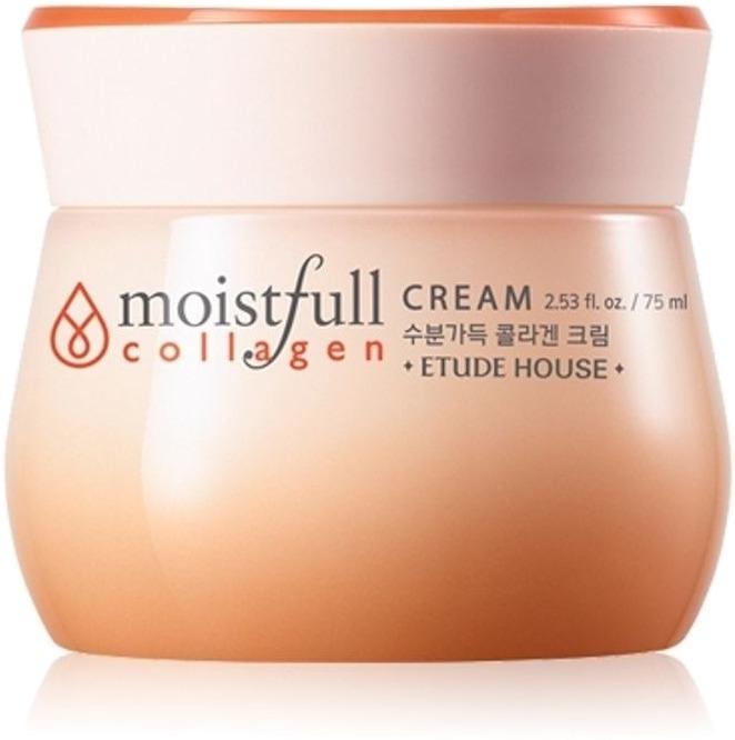 Etude House Moistfull Collagen CreamУвлажняющий крем от Etude House – эффективное средство для поддержания здоровой упругости, блеска и молодости кожи. Главное место в составе занимает чистый коллаген. Кроме того, крем обогащен экстрактом баобаба, добытым из его листьев и семян.<br>Лёгкая текстура позволяет средству быстро проникать внутрь эпидермиса, не оставляя на коже неприятных результатов использования в виде жирного блеска. Существенный уровень увлажнения и питания клеток позволит поверхности стать эластичной и подтянутой. Микрорельеф становится более ровным, пропадает шелушение.<br>Реакции разложения коллагена обеспечивают ему быструю усвояемость и возможность мгновенного воздействия на кожу. Она становится более упругой, морщины и шрамы разглаживаются, влага удерживается дольше. Пленка защищает от ультрафиолета, сухости воздуха и ветров.<br>Экстракты баобаба задерживают в клетках тканях кожи воду. В их состав входят полезные кислоты, минералы и витамины. Это природный антиоксидант с легким и бережным воздействием.Объём: 75 млСпособ применения:Очистить кожу. Нанести небольшое количество крема, распределяя его от центра к контурам лица. Можно использовать утром и вечером или один раз в день. Крем должен полностью впитаться.<br>