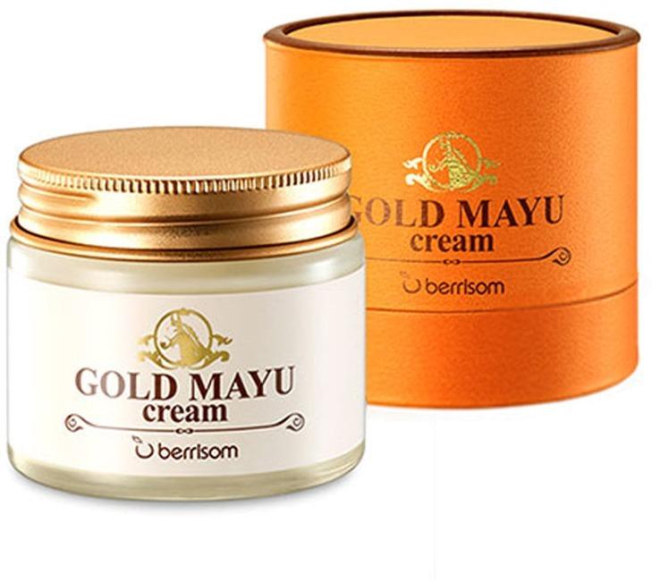 Berrisom Gold Mayu CreamОмолаживающий крем с лошадиным жиром от фирмы Berrisom станет вашим лучшим другом в борьбе за красоту и здоровье кожи. Сбалансированный состав средства глубоко питает кожу, увлажняет. Разглаживает морщинки и неровности, улучшает цвет лица и «пробуждает» естественные процессы омоложения кожи.<br>Лошадиный жир – главный секрет Gold Mayu Cream. Он интенсивно питает и смягчяет даже самые пересушенные и огрубевшие участки кожи, устраняет шелушения и ощущение стянутости. Ингредиент гипоаллергенен и абсолютно безопасен для здоровья.<br>Натуральный увлажняющий фактор (NMF) дарит мощный заряд увлажнения. Этот ингредиент состоит из множества полезных веществ в норме содержащихся в нашей коже. Однако с возрастом, как известно, организм начинает «лениться», и образуется нехватка полезных элементов. Средства с NMF как по волшебству устраняет этот недостаток, с ними кожа увлажненная и напитанная необходимыми веществами.<br>Еще один секретный ингредиент – так называемое, коллоидное золото. Золотые частички улучшают кровообращение и микроцеркуляцию, запуская жизненно важные процессы тканей. Благодаря этому кожа насыщается кислородом, заряжается тонусом, становится упругой и эластичной. Другими словами, к ней возвращается молодость.Объём: 70 гр.Способ применения:При помощи специальной ложечки (она идет в наборе) нанесите крем на чистую кожу. Равномерно распределите и мягко вмассируйте.<br>