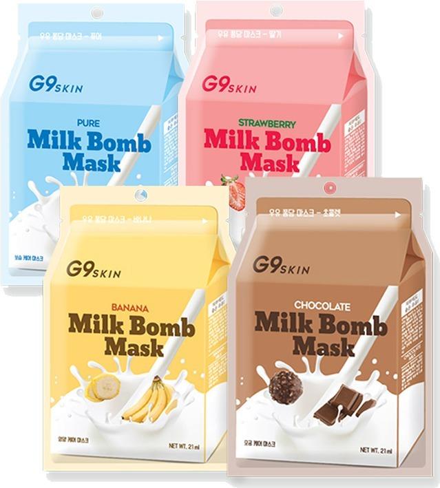 Berrisom Milk Bomb MaskПобалуйте свою кожу вкусным молочным коктейлем с добавлением питательных витаминов. Маска для лица от корейского бренда Berrisom содержит только натуральные молочные протеины, которые помогут устранить 8 распространенных кожных проблем. Продукт выполнен в виде молочных пакетиков, с различными питательными добавками. Основу маски составляет 100% натуральный хлопок, который мягко окутывает каждый миллиметр кожи и насыщает ее питательными веществами. Высококонцентрированная питательная эссенция глубоко проникает в дерму и активирует процессы регенерации буквально на клеточном уровне.<br>Banana. Экстракт сладкого банана вернет тусклой и уставшей коже сияние, смягчит сухие участки. Кроме того, банан в сочетании с молочными протеинами замедляет процессы старения. Препятствует появлению морщин и деликатно заботится о чувствительной коже лица. Обладает приятным ароматом молочного коктейля с бананом.<br>Chocolate. Шоколад как известно является мощным антиоксидантом, препятствует образованию морщинок, темных кругов и обвисанию кожи. Предотвращает образование свободных радикалов.<br>Strawberry. Ягодный молочный коктейль глубоко питает и увлажняет, оказывает на кожу лечебно - оздоравливающее действие. Клубничный экстракт в составе средства осветляет и возвращает коже сияние.<br>Pure. Молочный комплекс с добавлением незаменимых аминокислот поможет восстановить кожу после стрессов, длительного пребывания на солнце или холодном воздухе. Восстанавливает гидро – липидный баланс и разглаживает мелкую сеточку морщин.Объём: 21 мл.Способ применения:Извлеките продукт из упаковки и нанесите на чистую кожу лица, тщательно расправляя все складочки. Оставьте маску на 10 – 15 минут, после чего удалите, а остатки питательной эссенции распределите по коже.<br>