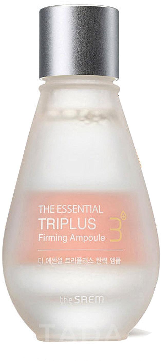 The Saem The Essential Triplus Firming AmpouleТрехфазное ухаживающее средство от компании The Saem призвано подарить увядающей коже красоту и здоровье. The Essential Triplus Firming Ampoule состоит из ферментированных жидкостей. Это ухаживающие масла, вытяжки из растений и обогащенное молекулами кислорода масло. Для чего нужна ферментация? После нее все полезные вещества скорее находят себе путь в клетки кожи, а значит, и быстрее начинают действовать.<br><br>Итак, первый слой &amp;ndash; это масло оливы, его ферментированная форма. Оно смягчает кожу и питает каждый ее слой. Кроме того, оно имеет защитное свойство и показало себя в многочисленных исследованиях как прекрасный антиоксидант.<br><br>Второй слой &amp;ndash; это экстракты лотоса, малины и эдельвейса. Их основное предназначение &amp;ndash; увлажнение. Но кроме того, они еще и замедляют процессы старения, защищают от неблагоприятных внешних влияний, спасают от тусклости и пересушивания.<br><br>И третий слой &amp;ndash; это масло шиповника с молекулами кислорода. Это действенное общеукрепляющее средство. Оно повышает сопротивляемость кожи всем внешним стрессовым воздействиям. Оно также ускоряет процессы клеточного восстановления и повышает тонус кожи.<br><br>Результатом регулярного применения средства станет более молодая, подтянутая кожа, более четкий овал лица.<br><br>&amp;nbsp;<br><br>Объём: 30 мл<br><br>&amp;nbsp;<br><br>Способ применения:<br><br>Средство нужно встряхнуть, чтобы все его слои перемешались, а затем нанести на кожу лица (после мероприятий по тонизированию) при помощи ватного диска.<br>