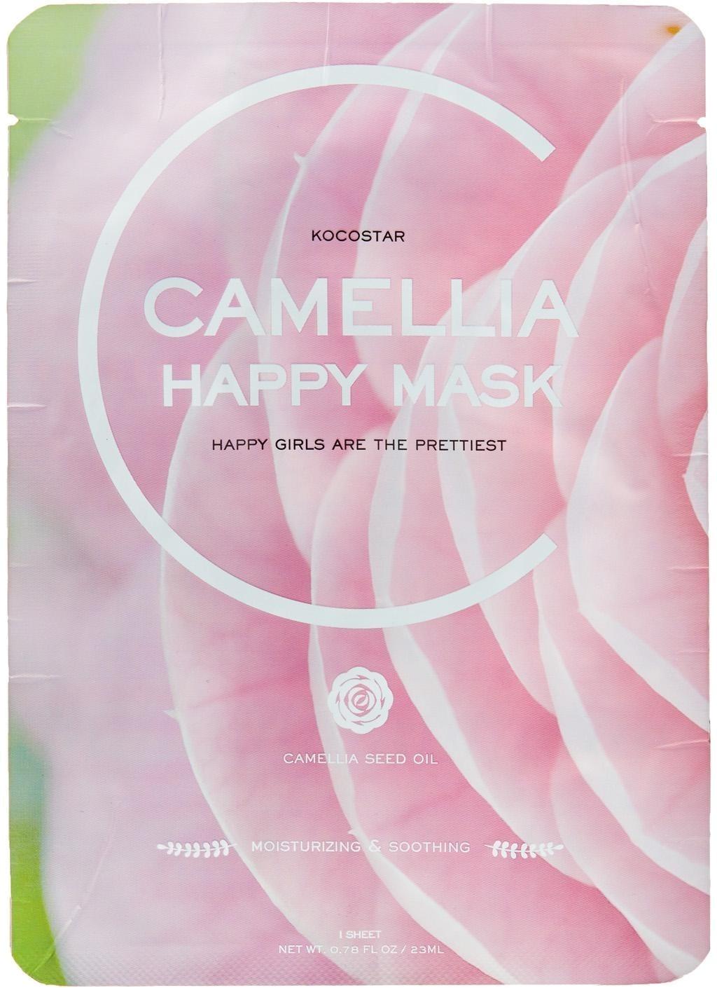 Kocostar Camellia Happy MaskМаска для лица Kocostar Camellia Happy Mask с поистине богатым составом, станет прекрасным способом подарить коже увлажнение на глубоком уровне, а также замедлить процессы увядания.<br><br>Экстракт лепестков и масло семян красной камелии содержат массу полезных для кожи витаминов и микроэлементов. Нейтрализуют пагубное влияние на кожу ультрафиолета и действия свободных радикалов.<br><br>Экстракт алоэ прекрасно освежает и успокаивает кожу, обеззараживает верхний слой эпидермиса, обладает заживляющими свойствами, контролирует работу себума.<br><br>Центелла азиатская обладает общеукрепляющим, антикуперозным, а также выраженным осветляющим действием. Снимает отечность и воспаления. Гиалуроновая кислота насыщает кожу влагой, оставляет на поверхности тонкую защитную пленку, запечатывая воду в клетках кожи и продлевая ощущения полной увлажненности на весь день. Является превосходным транспортным средством для других полезных веществ.<br><br>&amp;nbsp;<br><br>Объём: 23 мл<br><br>&amp;nbsp;<br><br>Способ применения:<br><br>Наложить маску на кожу лица на 25 минут. Убрать, остатки средства аккуратно &amp;laquo;вбить&amp;raquo; в кожу подушечками пальцев. Не смывать.<br>