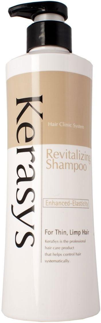 Оздоравливающий шампунь для волос KeraSys Revitalizing ShampooГустые, здоровые и сияющие волосы &amp;ndash; мечта каждой современной девушки. Позаботьтесь о будущем ваших волос с помощью инновационного ухаживающего шампуня Revitalizing Shampoo. Благодаря высокой концентрации экстрактов лекарственных растений, шампунь оказывает интенсивное обновляющее и восстанавливающее действие. Устраняет сухость и дискомфорт кожи головы, тщательно очищает, наполняет клетки витаминами и дарит волосам эластичность. Кроме того, продукт обеспечит надежную защиту волос от негативного влияния жесткой воды, температурных колебаний и стрессов. Легкая текстура продукта не оставляет на волосах белесой пленки, ощущения жирности и липкости. Обеспечивает легкое расчесывание, выравнивает локоны и дарит им до 20% объема, который держится в течение дня. Помогает сделать укладку менее травматичной и болезненной, препятствует спутыванию и обрыванию волос.<br><br>Экстракт зародышей пшеницы интенсивно восстанавливает поврежденные фолликулы волос, запечатывает секущиеся кончики и устраняет сухость.<br><br>Витамины А и Е увлажняют, смягчают и препятствуют потере волос, укрепляют корни и дарят локонам пружинящий объем.<br><br>&amp;nbsp;<br><br>Объём: 200 мл.<br><br>&amp;nbsp;<br><br>Способ применения:<br><br>Выдавите необходимое количество средства на ладонь и вспеньте на мокрых волосах в течение 1 &amp;ndash; 2 минут, после чего смойте остатки теплой водой.<br>