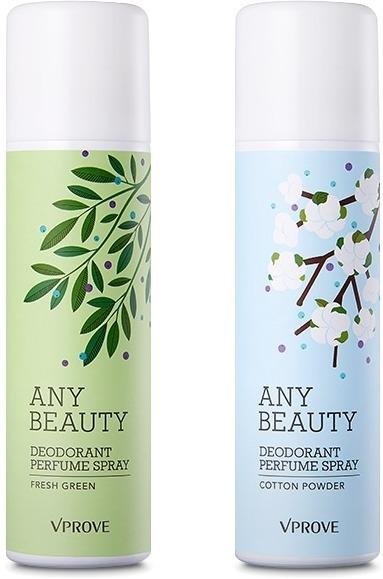 Vprove Any Beauty Deodorant Perfume SprayЛиния средств Any Beauty корейской марки VPROVE смягчает и успокаивает нежную кожу. Лёгкий дезодорант в форме спрея Any Beauty Deodorant Perfume Spray эффективно блокирует потоотделение, устраняет резкий запах пота и дарит неповторимое ощущение чистоты и свежести, как после прохладного утреннего душа. Средство содержит токоферол (витамин Е), который увлажняет сухую кожу и делает её упругой, а также экстракт оливы, которая обладает питательными свойствами. Мягкий финиш делает кожу притягательно гладкой, а приятные тонкие ароматы поднимают настроение в течение целого дня.<br>Небольшой флакон с изящным растительным рисунком удобно брать с собой, он не разобьётся и не прольётся в сумке. Дезодорант Any Beauty Deodorant Perfume Spray представлен в двух вариантах: пудровый Cotton Powder и свежий Fresh Green.Объём: 100 мл.Способ применения:Встряхните флакон и распылите дезодорант на сухую чистую кожу подмышек с расстояния 10-15 см.<br>