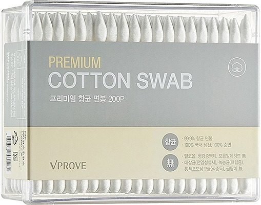 Vprove Premium Cotton SwabВатные палочки VPROVE Premium Cotton Swab &amp;ndash; незаменимый помощник для привычных ежедневных процедур. Мягкие наконечники плотно намотаны на прочное пластиковое основание, которое не гнётся даже при сильном нажатии. Аксессуар выполнен из 100% органического хлопка, который не раздражает кожу и не вызывает аллергии.<br><br>Благодаря двусторонним наконечникам &amp;ndash; привычному закруглённому и заострённому &amp;ndash; палочки можно использовать в самых разных целях: очистить загрязнения в труднодоступных местах, поправить макияж в уголке глаза, стереть неровную стрелку, удалить тонкую полоску лака между ногтём и кутикулой и т.д.<br><br>&amp;nbsp;<br><br>Объём: 200 шт.<br><br>&amp;nbsp;<br><br>Способ применения:<br><br>Если это необходимо, нанесите на ватную палочку немного нужного средства. Слегка нажимая на аксессуар, удалите загрязнение, лишнюю косметику или лак для ногтей.<br>