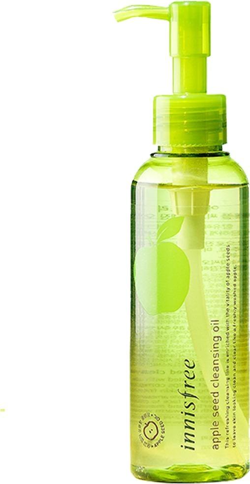 Innisfree Apple Seed Cleansing OilГидрофильное масло Apple Seed Cleansing Oil корейской марки Innisfree создано специально для удаления с лица особенно стойкого макияжа – например, водостойких тональных основ и пудр, бронзаторов, румян и тинтов для щёк. Средство содержит green complex – разработанный специалистами бренда растительный комплекс, куда входят экстракт зелёного яблока (шкурки и семечек), листьев камелии, зеленого чая, гамамелиса, орхидеи и мандаринов ушиу с острова Чеджу. Натуральные ингредиенты увлажняют, питают и смягчают кожу. Кроме того, средство сделано по фирменной формуле 4free, то есть в нём нет спирта, искусственных красителей, минеральных масел и продуктов животного происхождения. Масло Innisfree Apple Seed Cleansing Oil подарит вам чистую кожу, а потрясающий аромат свежего зелёного яблока оставит ощущение свежести и комфорта.Объём: 150 мл.Способ применения:Налейте немного масла на сухие ладони и нанесите на сухое лицо. Мягко помассируйте в течение минуты, затем смочите руки водой и помассируйте кожу ещё немного. Смойте масло водой, а затем умойтесь обычным гелем или пенкой.<br>