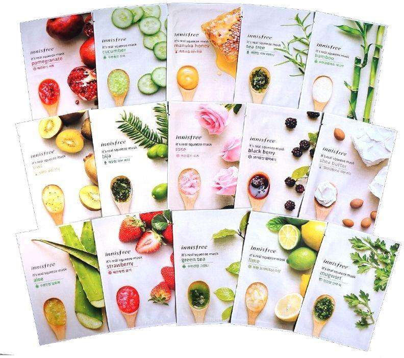 Innisfree Its Real Squeeze MaskТрехслойные тканевые маски от косметического бренда Innisfree - это максимальный уход за каждым участком кожи. Они изготовлены из безопасного материала и пропитаны натуральными экстрактами, которые и определяют действие маски. It&amp;#39;s Real Squeeze Mask обладает косметическим и лечебным эффектом.<br><br>Представлены следующие варианты продукта:<br><br>Mask Aloe - маска на основе алоэ. Предназначена для придания лицу свежести, устранения тусклости, защиты от яркого солнца. Эффект достигается за счёт присутствия в составе маски богатого витаминами экстракта алоэ.<br><br>Mask Bija - маска на основе экстракта хвойного дерева Биджу, направленная на уход за проблемной кожей. Ее регулярное использование избавит от раздражений, акне, чёрных точек и воспалений.<br><br>Mask Blackberry - маска с экстрактом черники для возвращения жизненной силы потускневшей и ослабленной коже. Она богата полезными витаминами, которые не только устраняют видимые проблемы кожи, но и делают ее менее восприимчивой к внешним раздражителям.<br><br>Mask Cucumber - маска на основе экстракта огурца, предназначенная для максимального увлажнения кожи. Главный компонент продукта способен насытить кожу необходимой влагой на длительный период. При регулярном использовании маски лицо полностью избавится от шелушений и раздражений, вызванных отсутствием в клетках достаточной влаги.<br><br>Mask Green Tee - маска с экстрактом зелёного чая с омолаживающим эффектом. Она направлена на обновление клеток, устранение тусклости, отечности, покраснений и воспалений.<br><br>Mask Kiwi - маска с киви. Она предназначена для осветления кожи и устранения на ней видимых проблем. Экстракт киви деликатно очищает лицо, борется с постакне, удаляет мелкие ранки и рубцы.<br><br>Mask Manuka Honey - маска на основе новозеландского меда манука, направленная на замедление увядании кожи. Главный компонент продукта отлично справляется со своей задачей, разглаживая морщинки. Также он избавляет от покрасн