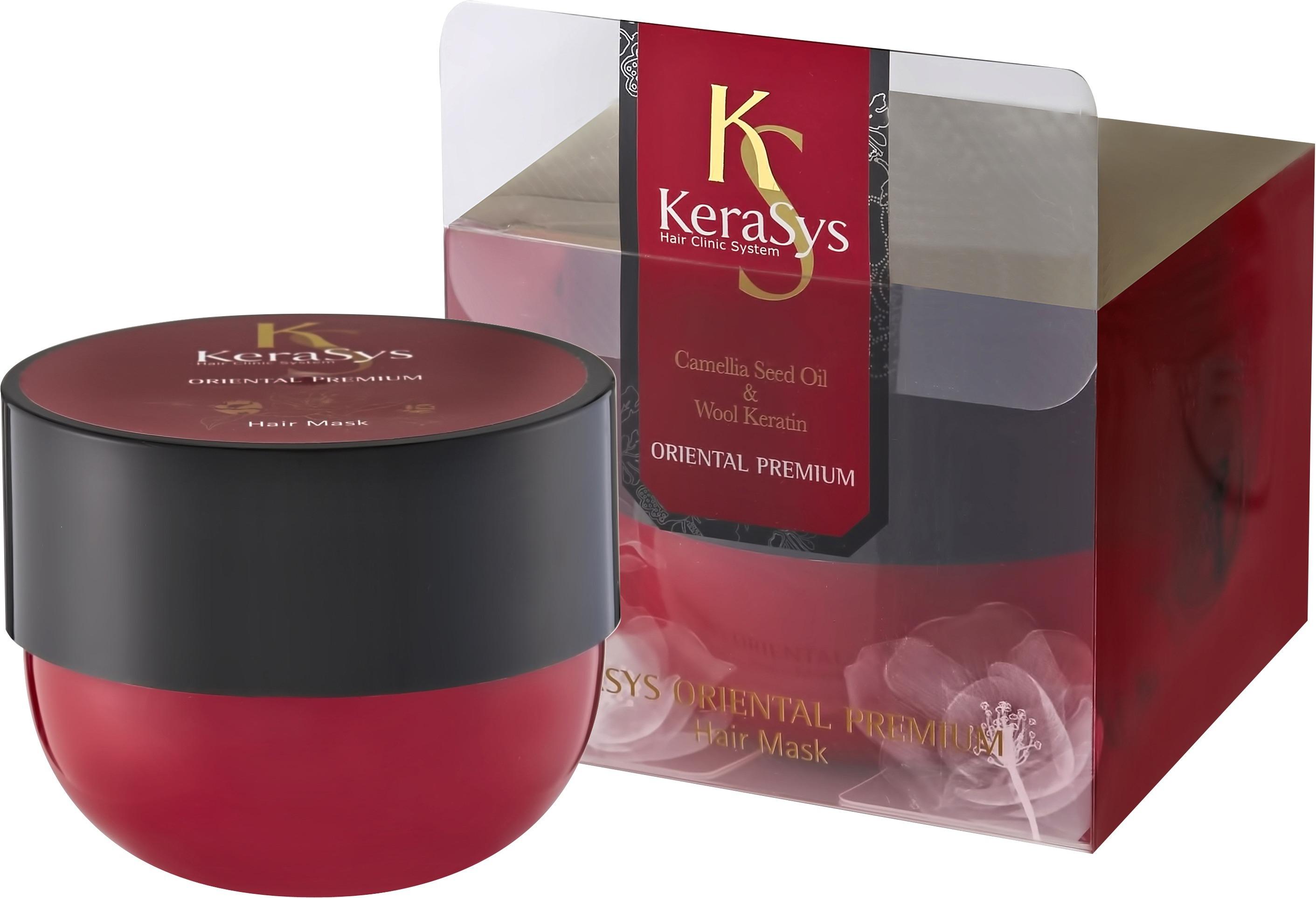 KeraSys Oriental Premium Hair MaskМаска для волос от бренда KeraSys – это интенсивное питание для ослабленных и поврежденных волос. Косметический продукт способен вернуть безжизненным, постоянно путающимся волосам силу и здоровье, не утяжеляя их.<br><br>Средство для волос в своем составе содержит:<br>природные кератины;<br>гиалуроновую кислоту в низкомолекулрной фазе;<br>масло, полученное из семян камелии;<br>вытяжки хризантемы, граната, орхидеи, женьшеня, ангелики, жгун-корня.<br><br>Кератин проникает в поры волос и делает их гладкими и плотными. Гиалуроновая кислота восполняет запасы влаги, даря локонам мягкость и шелковистость. Масло камелии повышает эластичность и усиливает блеск, питает корни волос и обеспечивает защиту от действия внешних факторов. Экстракты восточных трав бережно ухаживают за кожей головы, устраняют сухость и зуд.<br><br>Маска обладает тающей кремообразной текстурой. Она отлично распределяется по волосам и впитывается ими. Также хорошо смывается. После использования шевелюра источает восхитительный цветочный аромат.<br><br>Средство содержится в большой привлекательной баночке бардового цвета с черной плотно закручивающейся крышечкой. Маску удобно набирать и наносить.Объём: 300 млСпособ применения:Маска наносится на чистые влажные волосы на три минуты. Смывать средство необходимо теплой водой.<br>