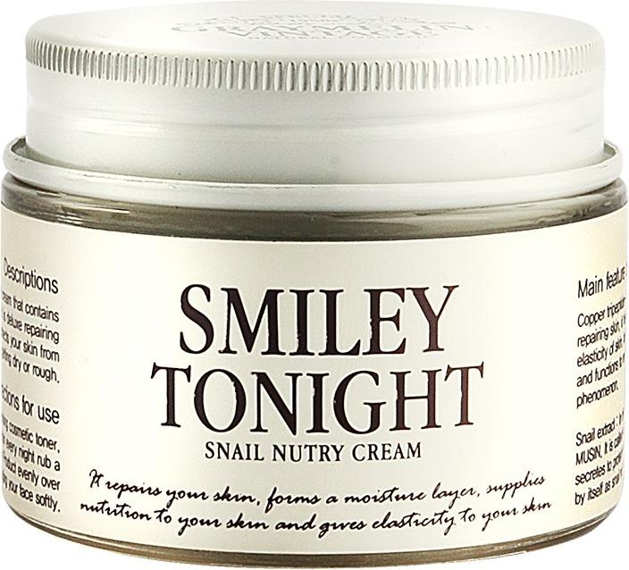 Graymelin Smiley Tonight Snail Nutry CreamВосполнить недостаток витаминов и замедлить процесс увядания кожи поможет инновационный крем от корейского бренда Graymelin. Средство превосходно питает и восстанавливает природную красоту кожи.<br>Smiley Tonight Snail Nutry Cream – разработан на основе экстракта улиточной слизи, которая чрезвычайно богата полезными минералами и витаминами. Ее используют в производстве anti – age косметических средств, поскольку она способна активировать обновление клеток. Благодаря легкой тающей текстуре средство мгновенно проникает в глубокие слои дермы и восстанавливает клетки изнутри. Средство способствует разглаживанию морщин, придает оптическую ровность и гладкость коже, улучшает тон и способствует осветлению. Продукт обеспечивает максимальную заботу и помогает другим средствам лучше действовать. Улучшая микроциркуляцию крови и обмен веществ, продукт обеспечивает надежную защиту от негативного влияния стрессов и ультрафиолета. Предупреждает появление высыпаний и угревой сыпи. Может использоваться не только как дневное, но и ночное ухаживающее средство.Объём: 50 гр.Способ применения:На предварительно очищенную и тонизированную кожу нанесите точечно средство и подушечками пальцев распределите по коже.<br>