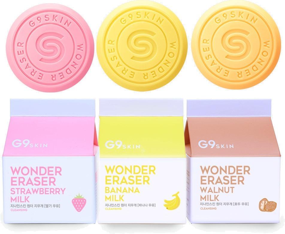 Berrisom G Wonder EraserНатуральный состав из тщательно подобранных ингредиентов, восхитительный аромат и бережное очищение &amp;ndash; все это косметическое мыло от Berrisom G9. Забудьте о том, что умывание мылом стягивает кожу и вызывает ощущение сухости. Wonder Eraser может похвастаться нейтральным Ph и целым коктейлем полезных компонентов. Душистое мыло легко вспенивается и прекрасно очищает кожу от косметических средств, пыли, пота, кожного жира и других загрязнений.<br><br>Соблазнитесь на один из представленных вариантов Wonder Eraser:<br><br>85 г Strawberry Milk<br><br>Молочные протеины и экстракт клубники ухаживают за кожей, тщательно очищают и сужают поры, активизируют клеточное обновление и мягко отбеливают.<br><br>85 г Banana Milk<br><br>Густая пена с экстрактом банана заботится об эластичности и упругости кожи, делая ее мягкой и насыщенной витаминами и микроэлементами.<br><br>85 г Walnut Milk<br><br>Экстракт грецкого ореха прекрасно тонизирует, улучшает микроцеркуляцию, укрепляет сосуды и успокаивает воспаления.<br><br>&amp;nbsp;<br><br>Объём: 85 гр.<br><br>&amp;nbsp;<br><br>Способ применения:<br><br>Вспеньте мыло в руках или в косметической сеточке, помассируйте лицо и хорошо смойте теплой водой.<br>