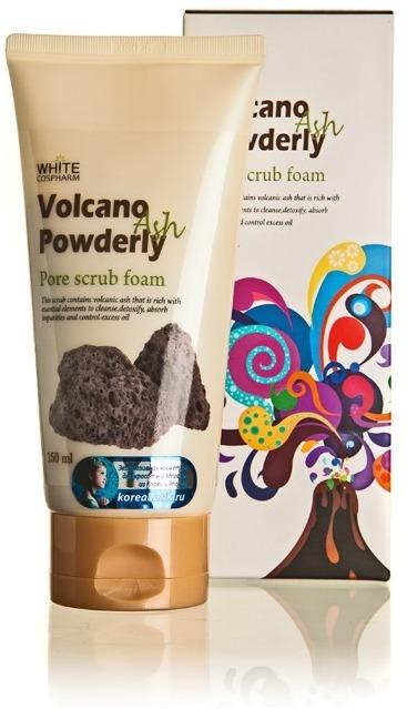 White Cospharm Volcano Powderly Pore Scrub Foam.