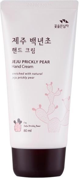 Flor de Man Jeju Prickly Pear Hand CreamКожа рук чаще всего подвергается негативному влиянию холодного ветра, воды и стрессов. Поэтому она становится не только менее привлекательной, но и раздраженной и шелушащейся. Устранить все эти неприятные последствия и вернут ручкам привлекательность поможет лимитированная линейка средств Jeju Prickly от Flor de Man.<br><br>Таинственный остров Чеджу славится не только редчайшими экземплярами растений, но и живущими там людьми, которые много веков подряд хранят секреты сохранения молодости кожи. Специалистам компании Flor de Man удалось разгадать эту тайну и раскрыть ее для Вас. Настоящей находкой стало растение под названием колючая груша, которая обладает выраженным терапевтическим и антиоксидантным эффектом. Богатство комплексом витаминов и микроэлементов позволяет активировать процессы регенерации клеток и усиление синтеза собственного коллагена. В результате кожа становится эластичной, гладкой и упругой. Кроме того, экстракт кактуса обладает успокаивающим, ранозаживляющим и антибактериальным действием. Способствует регулировке гидро &amp;ndash; липидного баланса клеток, предотвращает появление сухости и зуда. Специальная смягчающая формула деликатно воздействует на ороговевшие клетки, размягчая и удаляя их. Кожа вновь становится бархатистой и нежной.<br><br>&amp;nbsp;<br><br>Объём: 80 мл.<br><br>&amp;nbsp;<br><br>Способ применения:<br><br>Необходимое количество средства нанесите на чистую сухую кожу рук и легкими круговыми движениями вотрите до впитывания.<br>