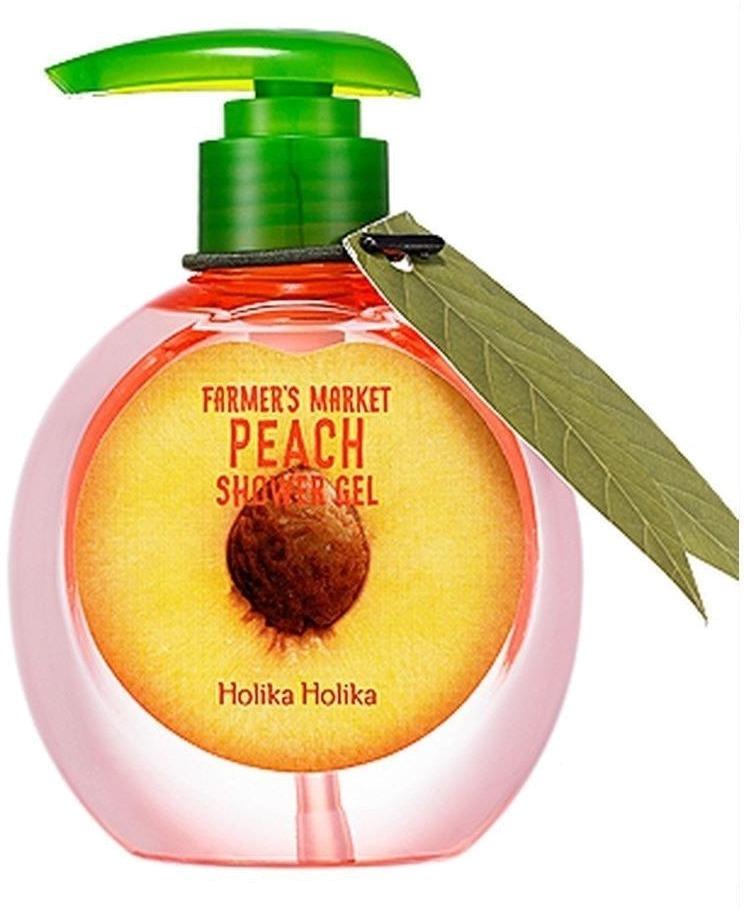 Holika Holika Farmers Market Peach Shower GelГель для очищения тела от компании Holika Holika разработан для деликатного ухода за кожей. Он превосходно увлажняет и замечательно тонизирует. Главным компонентом средства являются экстракты плодов и цветов персика. Эти растительные ингредиенты оказывают на кожу оздоравливающее действие и за короткий период делают ее красивой и ухоженной.<br><br>Также в составе геля содержатся вытяжки цветов яблока, черешни, лайма, апельсина. Гель, обладающий бактерицидными свойствами, отлично устраняет загрязнения, не оставляет ощущения стянутости и сухости. Косметический продукт при регулярном использовании избавляет от пигментации, выравнивает цвет кожи. Она после геля становится чрезвычайно мягкой и напитанной. Все имеющиеся воспаления становятся менее выраженными, шелушения исчезают.<br><br>Средство могут использовать обладатели чувствительной кожи, поскольку его компоненты не вызывают раздражений. Гель имеет приятную кремовую консистенцию. Он станет незаменимым помощником в уходе за увядающей, уставшей кожей. После себя он оставляет чудесный, сладкий фруктовый аромат.<br><br>&amp;nbsp;<br><br>Объём: 240 мл<br><br>&amp;nbsp;<br><br>Способ применения:<br><br>Нанести гель на влажную губку и аккуратно помассировать кожу. Смыть водой.<br>