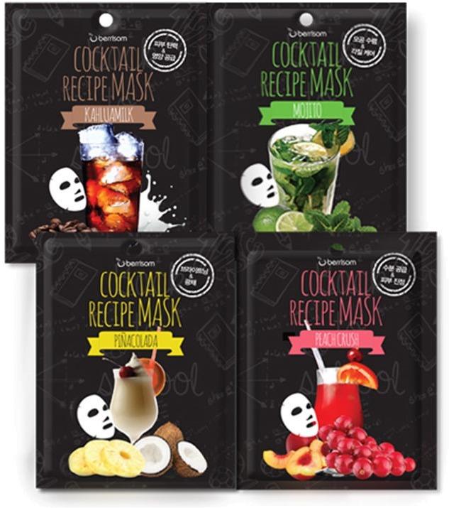Berrisom Cocktail Recipe MaskУгостите свою кожу любимым коктейлем вместе с корейской маской Cocktail Recipe Mask от Berrisom. Высокая концентрация питательных веществ в сочетании с натуральной основой средства помогают мгновенно восстановить красоту и сияние кожи. Натуральная хлопковая основа, пропитанная составляющими трав и фруктов, помогает активировать процессы регенерации тканей, снять воспаление и вернуть коже свежий и отдохнувший вид.<br>Выберите свой коктейль из 4 вариантов или соберите всю коллекцию для комплексного ухода за кожей.<br>01 Peach Crush – маска с натуральным экстрактом персика станет настоящим помощником для сухой, обезвоженной и тусклой кожи. Экстракты алоэ, ромашки и клюквы устраняют сухость, шелушение и чувство дискомфорта. Дарят коже гладкость, свежесть и сияние.<br>02 Kahlua Milk – кофейно – молочный коктейль способствует восстановлению гладкости, выравнивает тон и мягко удаляет роговой слой клеток. Продукт оказывает глубокое увлажняющее, питательное и восстанавливающее действие. Усиливает синтез коллагена и укрепляет тонкие стенки сосудов.<br>03 Mojito – бодрящий мохито оказывает успокаивающее, освежающее и увлажняющее действие. Содержащийся в маске экстракт лайма отбеливает пигментацию, сужает расширенные поры и предотвращает появление высыпаний.<br>04 Pina Colada – насыщенный цитрусовый коктейль с содержанием грейпфрута, ананаса и лайма восстановит недостаток витаминов, очистит кожу и увлажнит сухие участки. Средство превосходно тонизирует, усиливает эластичность и предотвращает ранее старение клеток.Объём: 20 гр.Способ применения:На предварительно очищенную кожу нанесите средство и тщательно расправьте складочки. Оставьте на 20 – 25 минут. После чего аккуратно удалите, а остатки питательной эссенции распределите по коже<br>