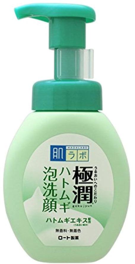 Hada Labo Gokujyun Hatomugi Foaming Face Wash.